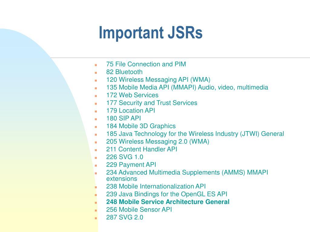 Important JSRs