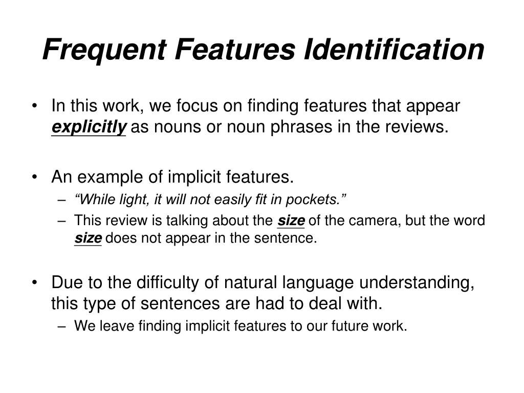 Frequent Features Identification
