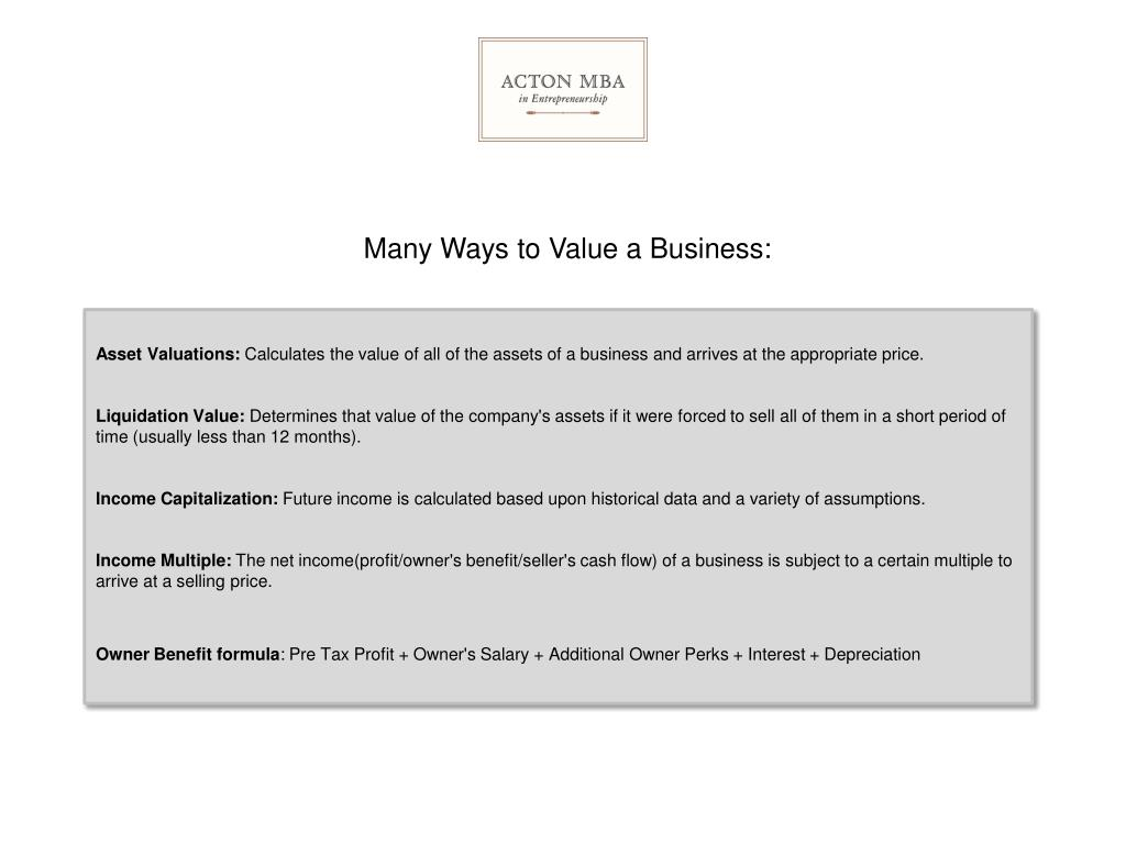 Many Ways to Value a Business: