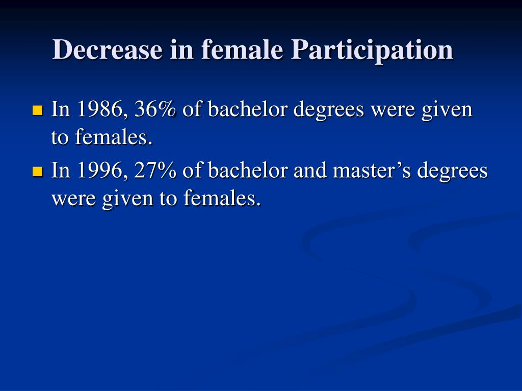 Decrease in female Participation