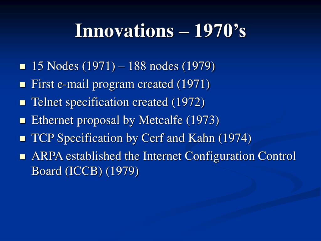 Innovations – 1970's