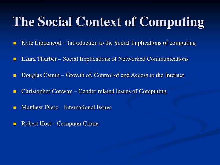 The social context of computing2