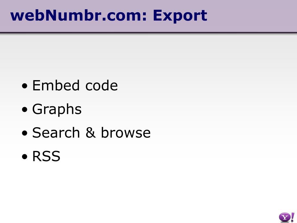 webNumbr.com: Export