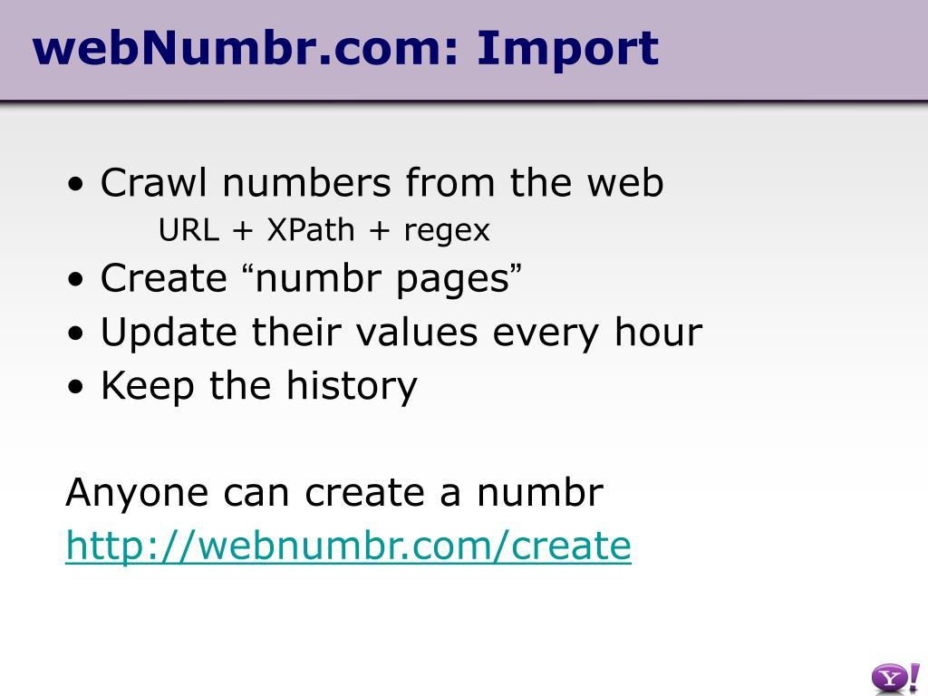 webNumbr.com: Import