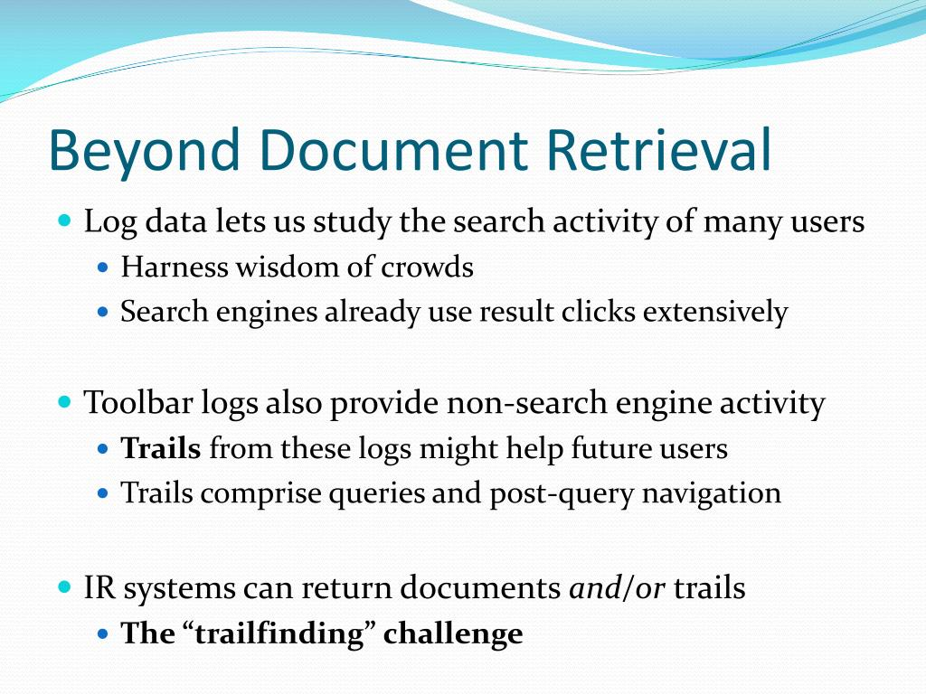 Beyond Document Retrieval