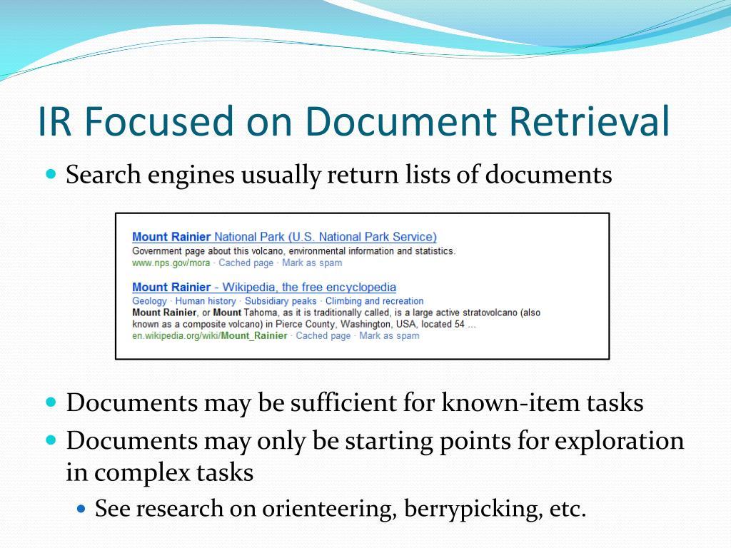 IR Focused on Document Retrieval