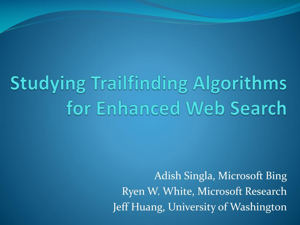 studying trailfinding algorithms for enhanced web search