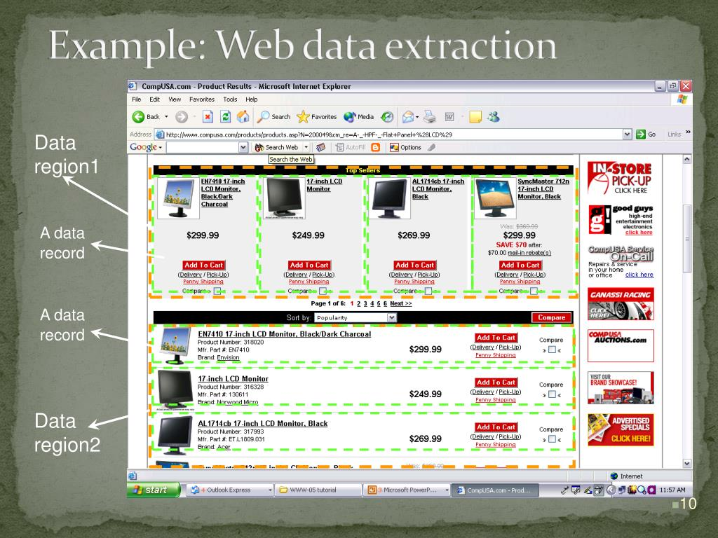 Example: Web data extraction