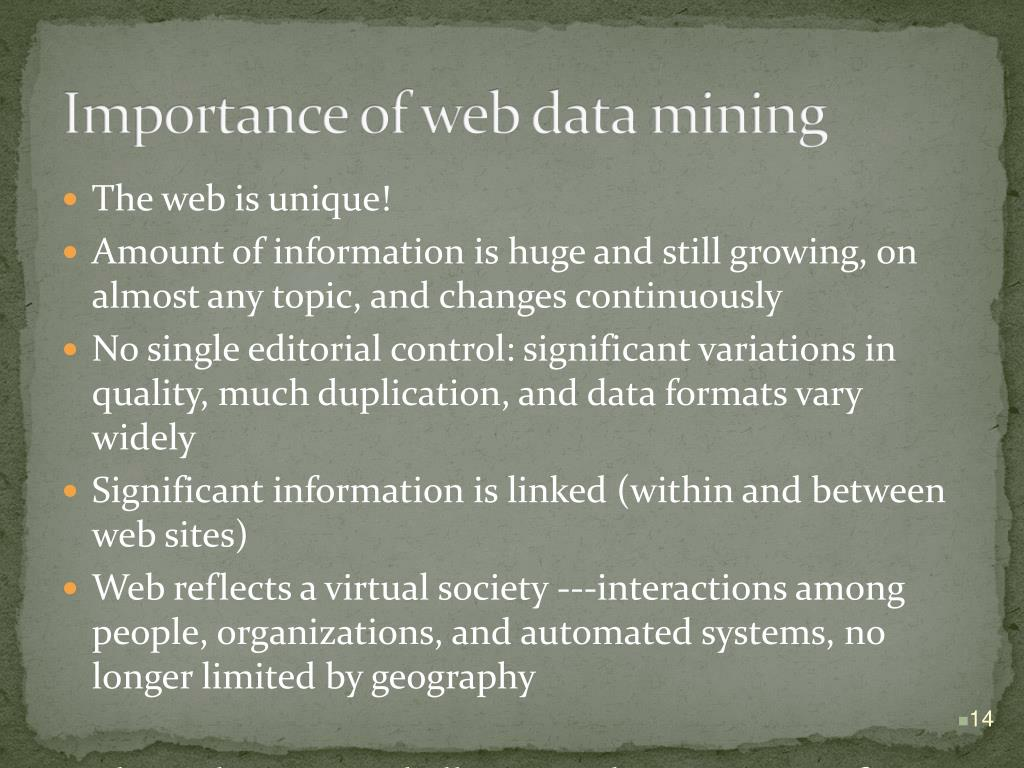 Importance of web data mining