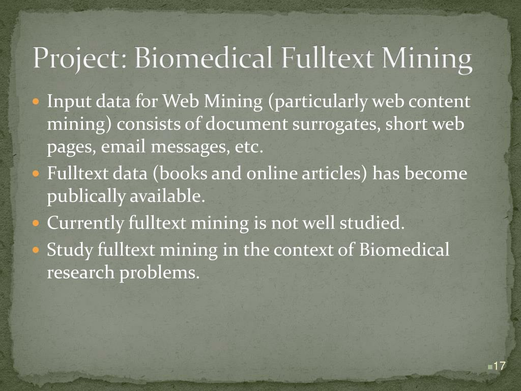 Project: Biomedical Fulltext Mining