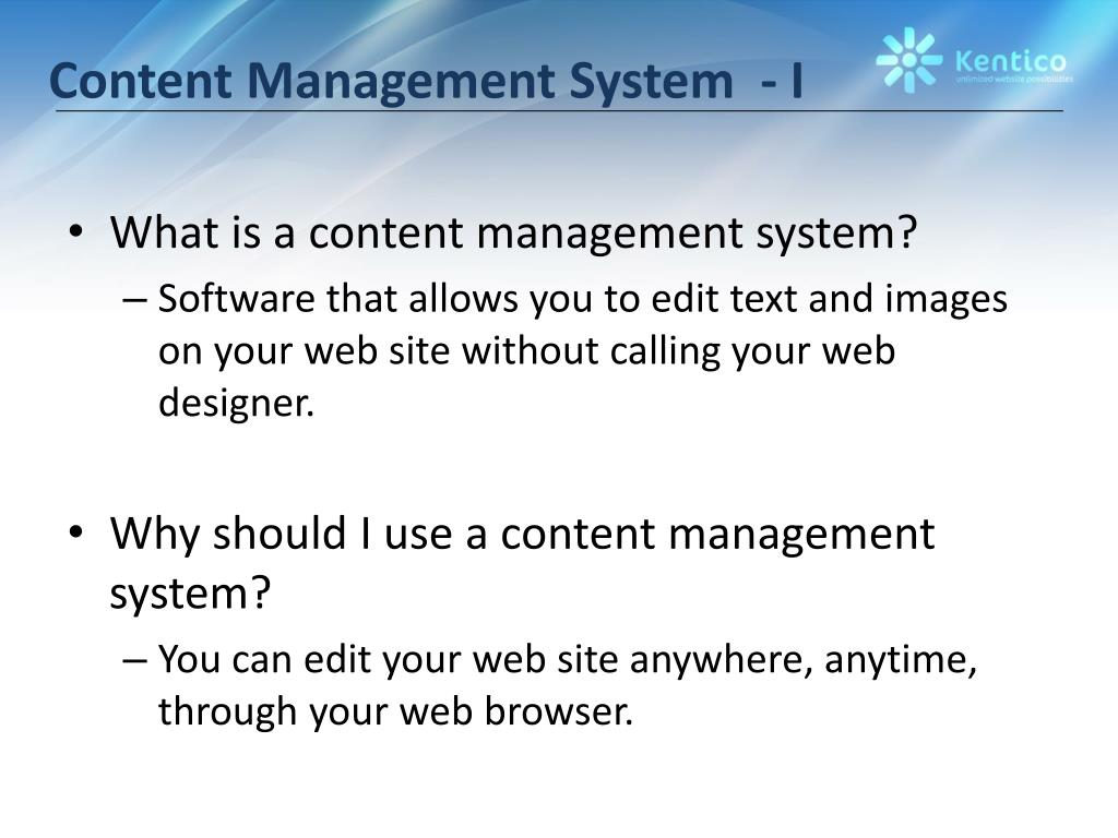 Content Management System  - I