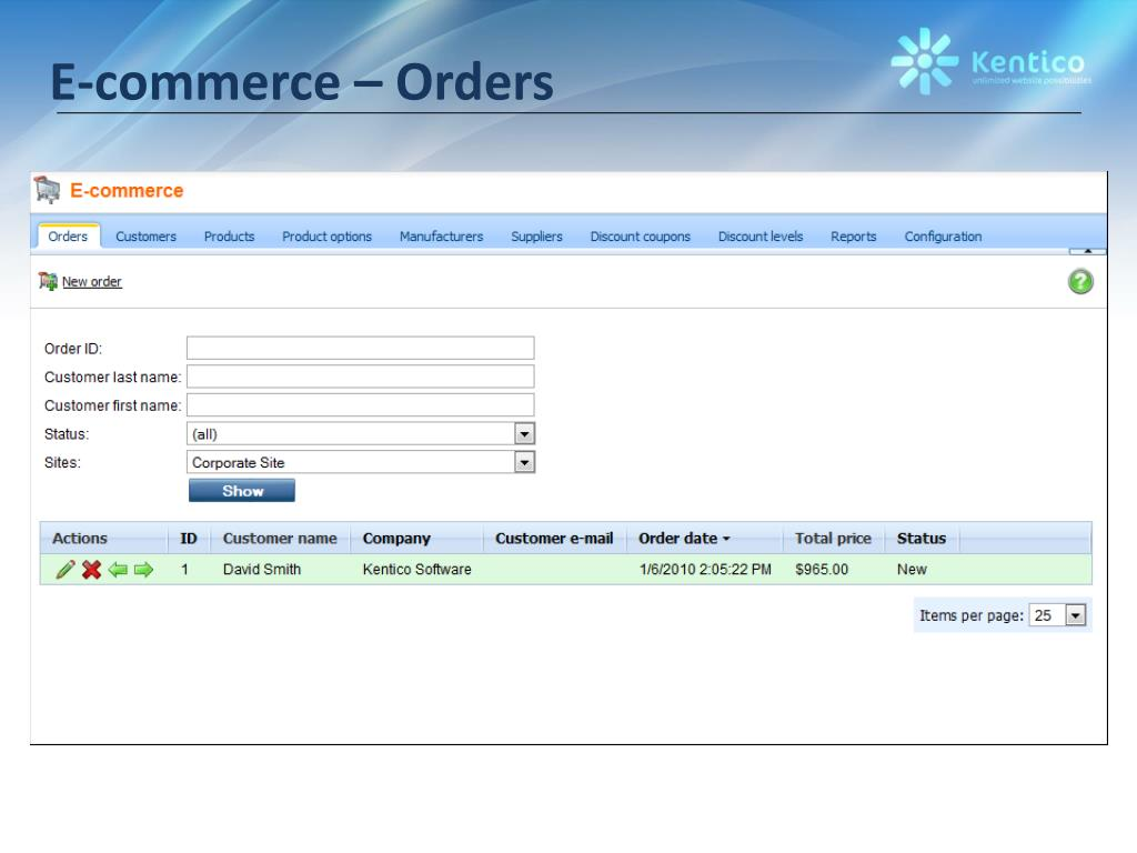 E-commerce – Orders