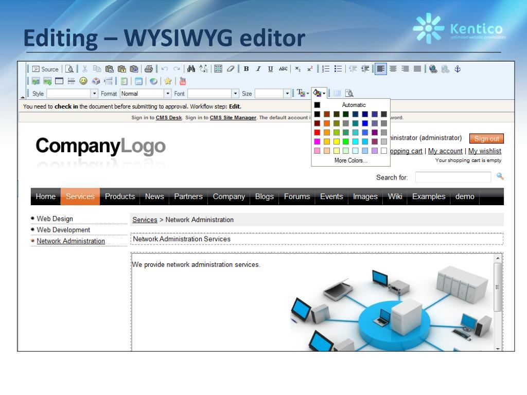 Editing – WYSIWYG editor