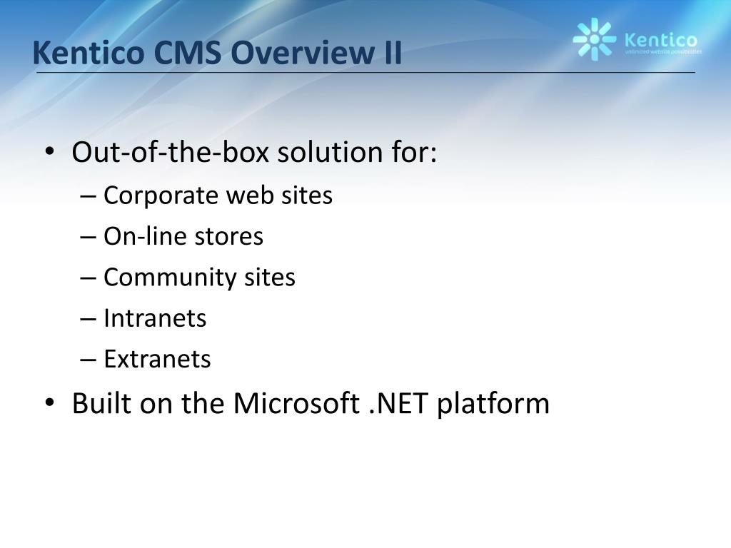 Kentico CMS Overview II