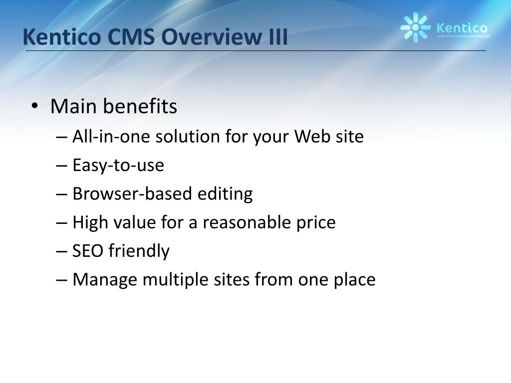 Kentico CMS Overview III