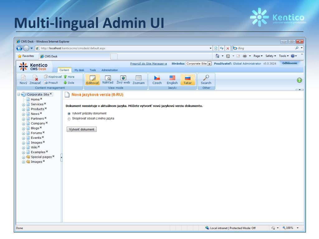 Multi-lingual Admin UI
