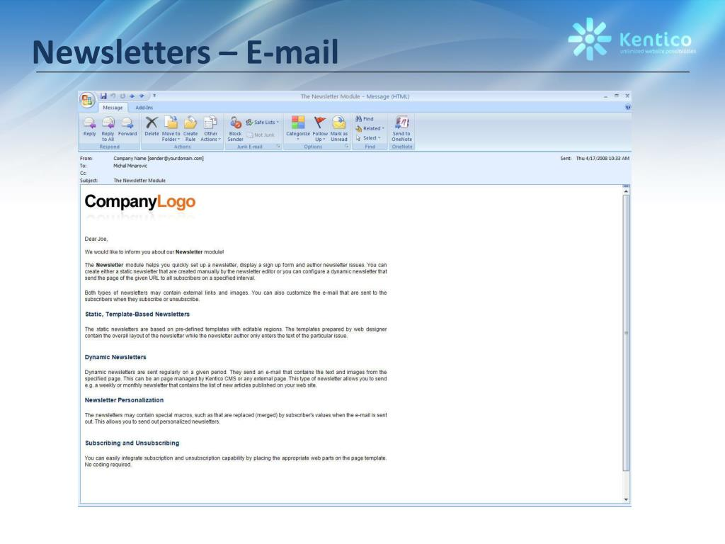 Newsletters – E-mail