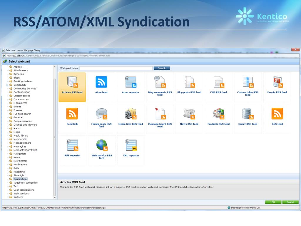 RSS/ATOM/XML Syndication