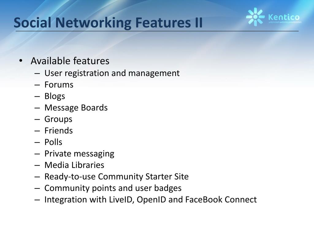 Social Networking Features