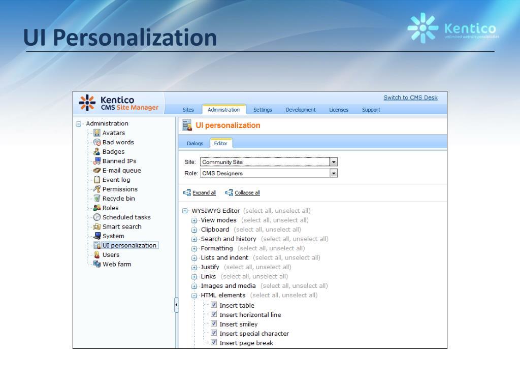 UI Personalization