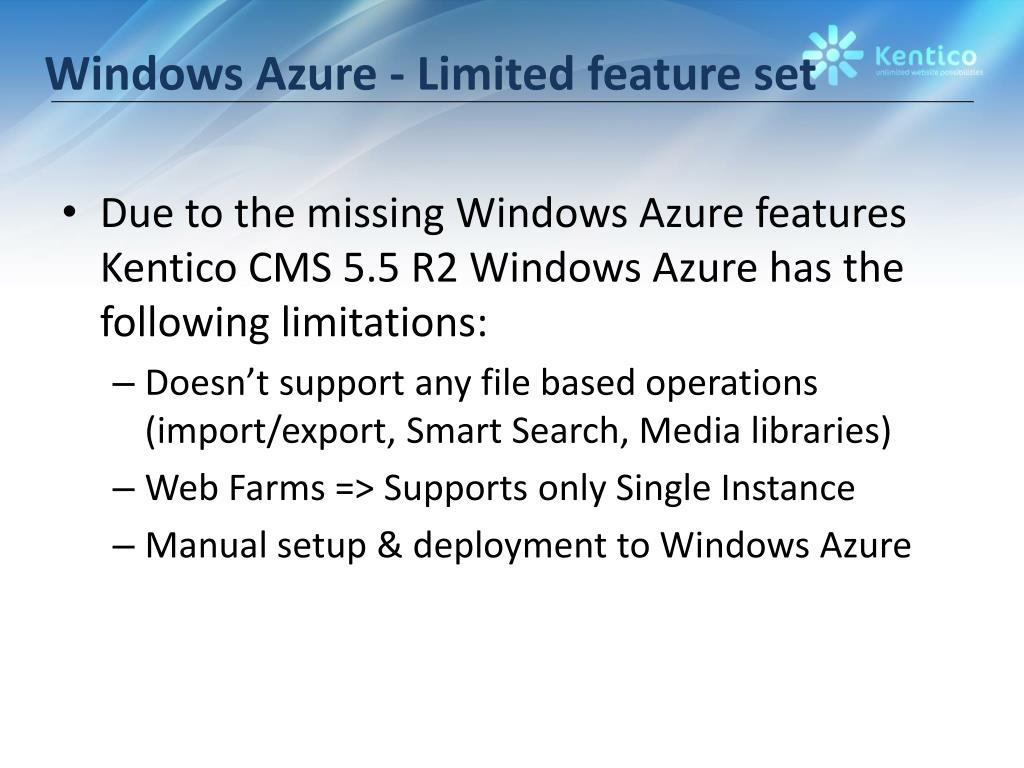 Windows Azure - Limited feature set