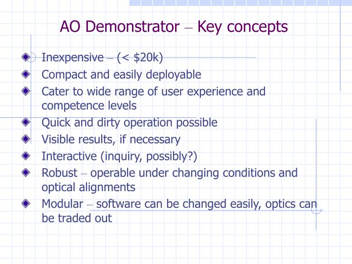 Ao demonstrator key concepts