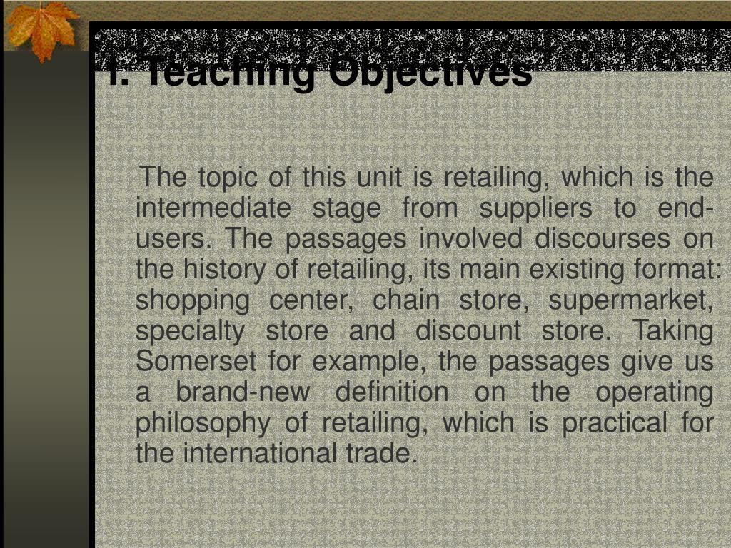I. Teaching Objectives