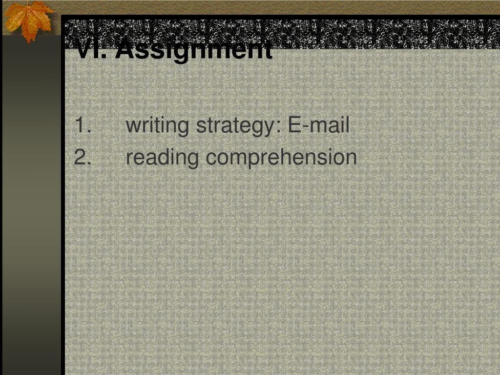 VI. Assignment