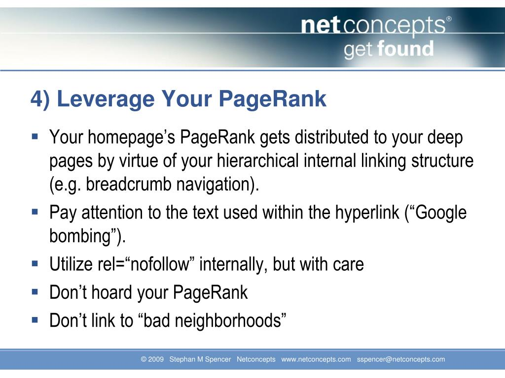 4) Leverage Your PageRank
