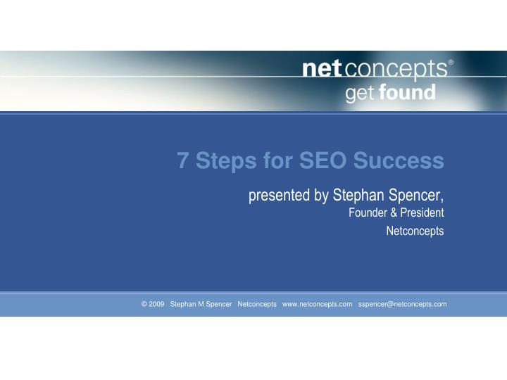 7 steps for seo success
