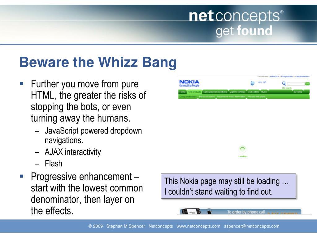 Beware the Whizz Bang
