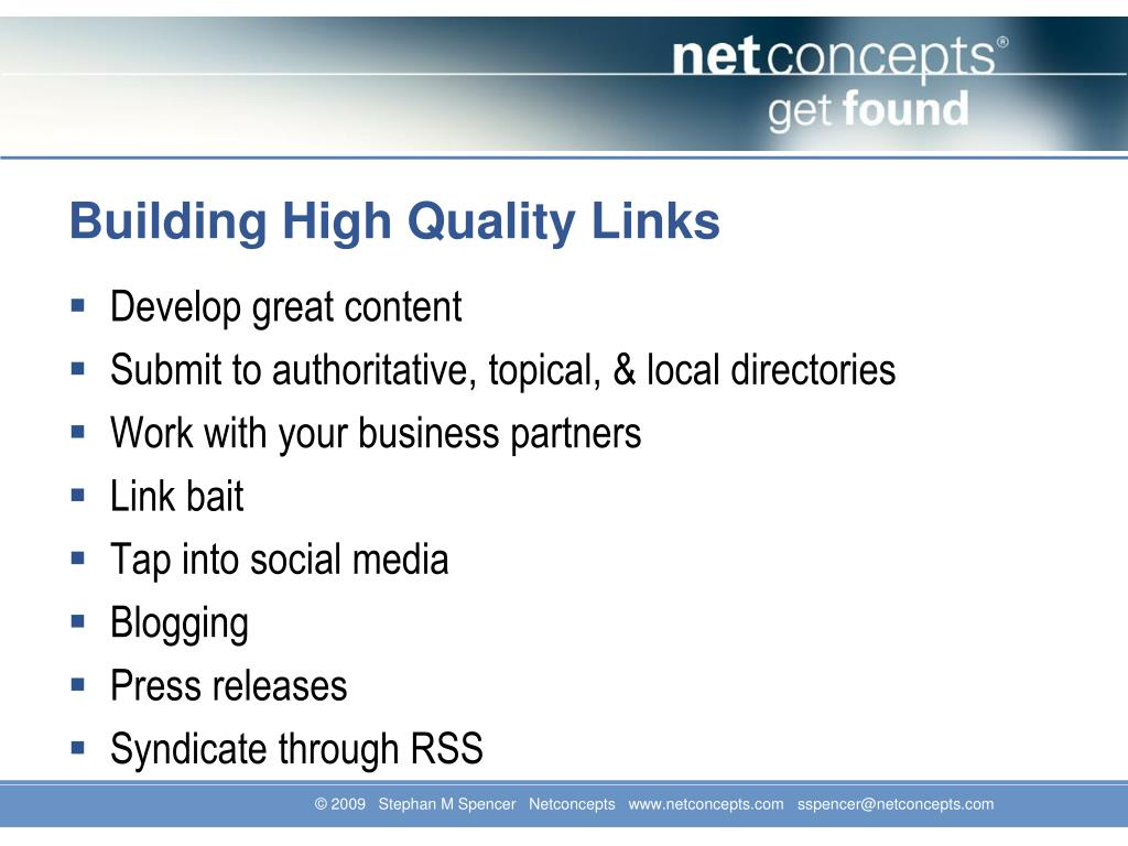 Building High Quality Links