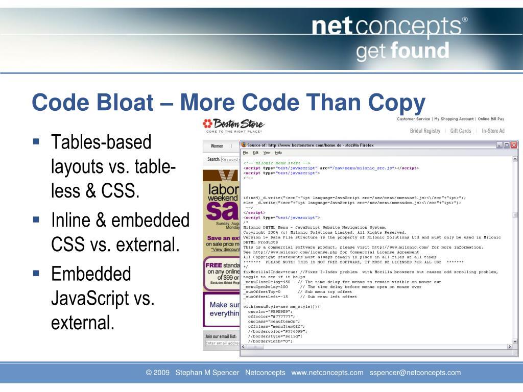 Code Bloat – More Code Than Copy