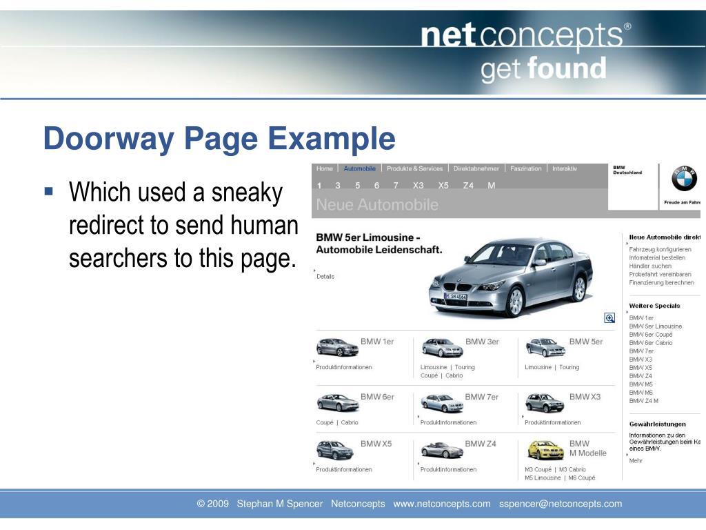 Doorway Page Example