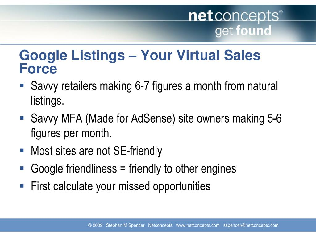 Google Listings – Your Virtual Sales Force