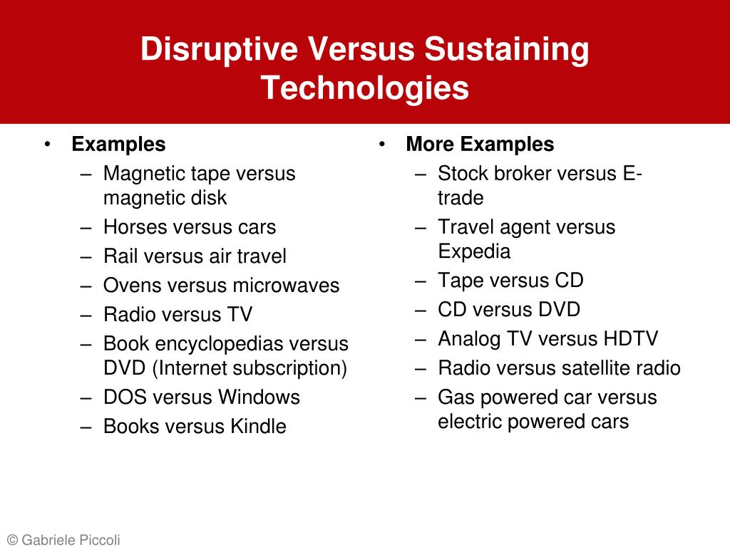 Disruptive Versus Sustaining Technologies