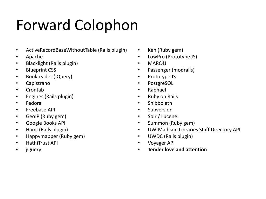 Forward Colophon