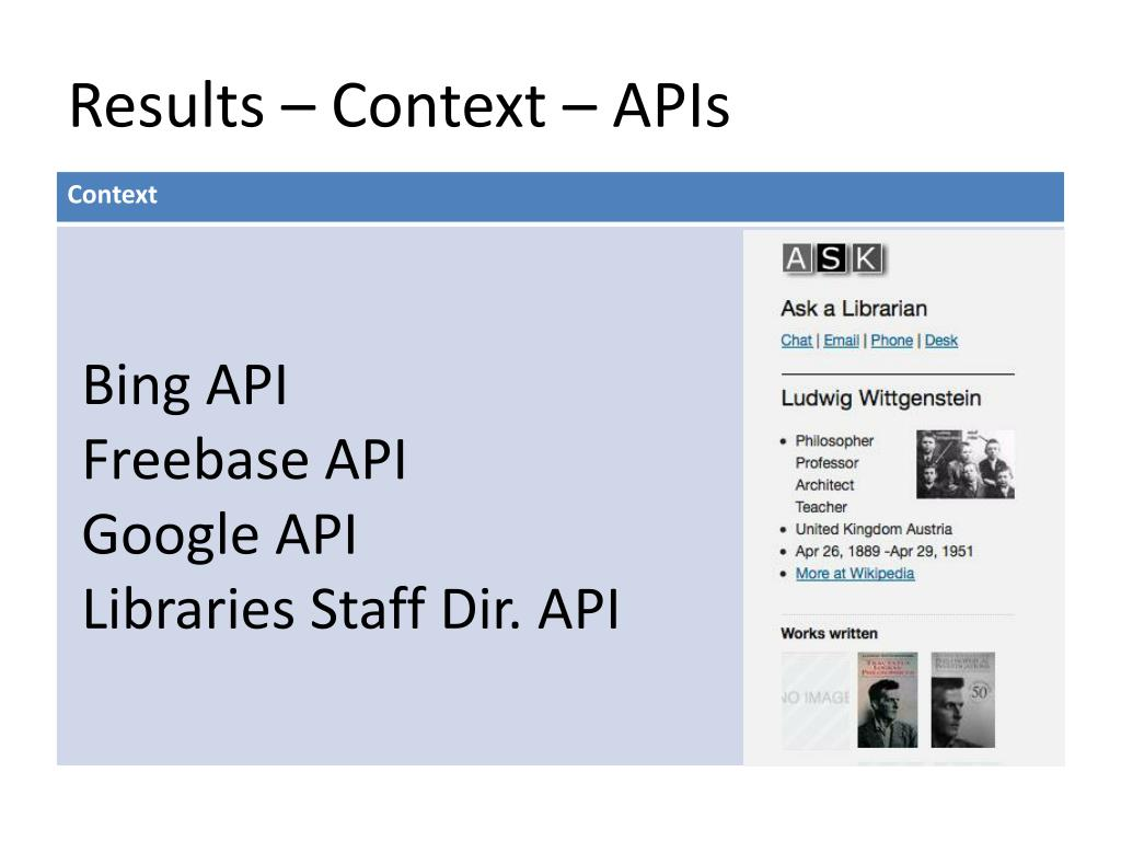 Results – Context – APIs