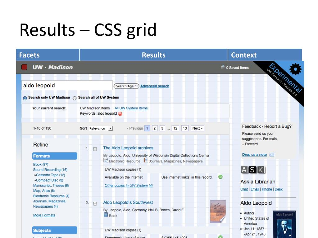 Results – CSS grid