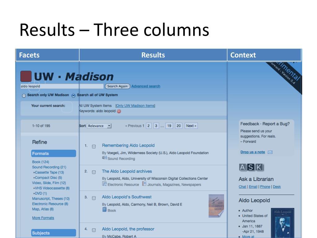 Results – Three columns