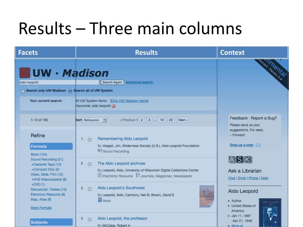 Results – Three main columns