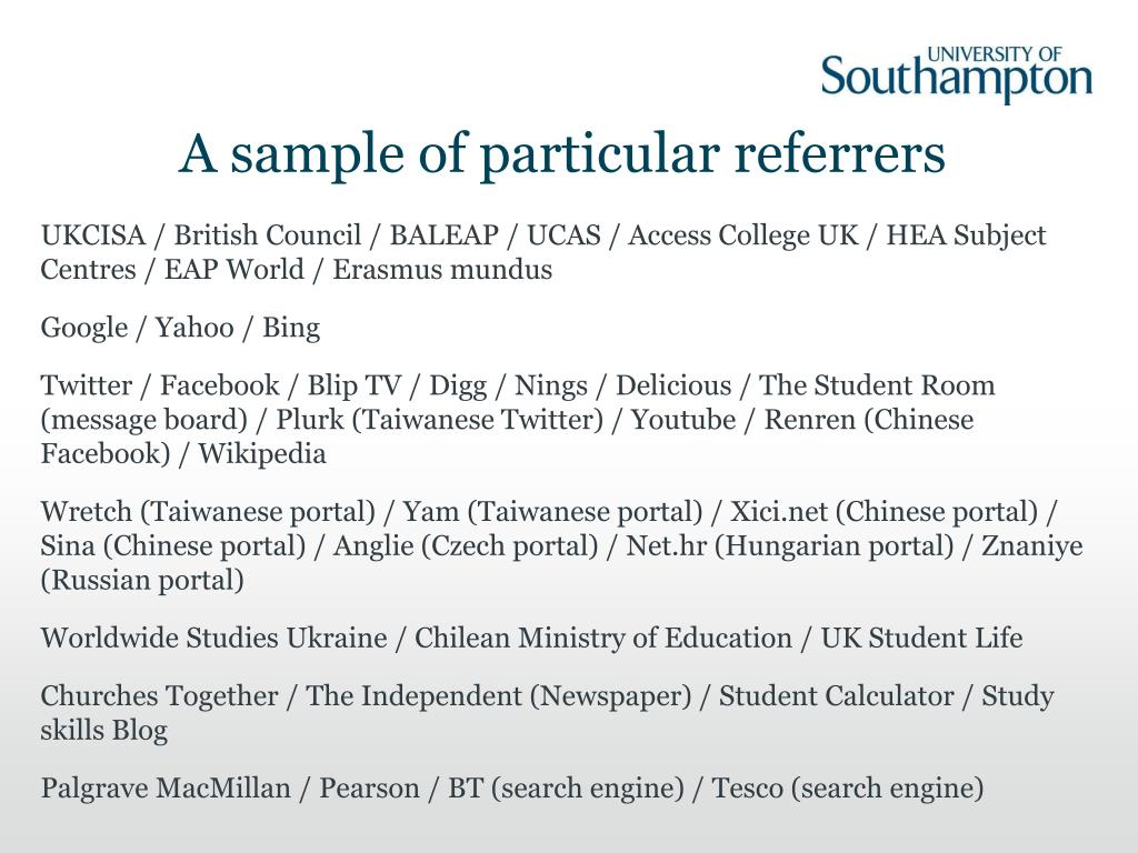 A sample of particular referrers