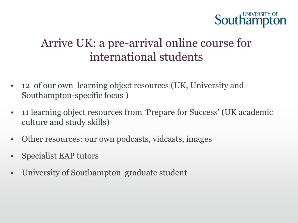 Arrive UK: a pre-arrival online course for international students