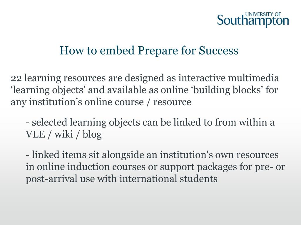 How to embed Prepare for Success