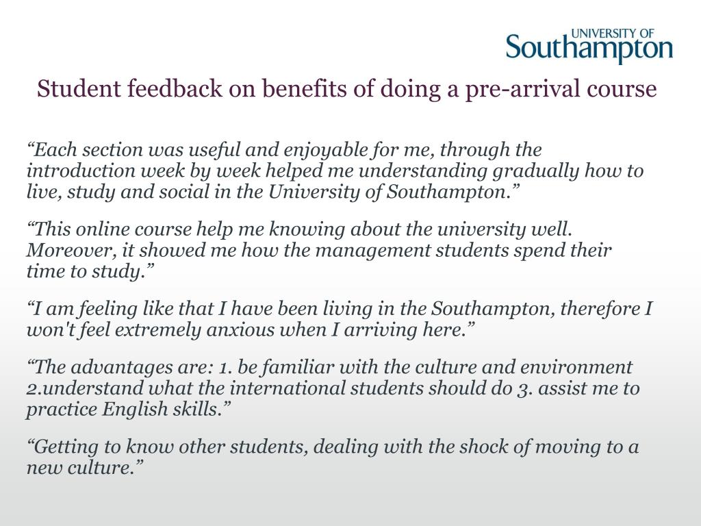 Student feedback on benefits of doing a pre-arrival course