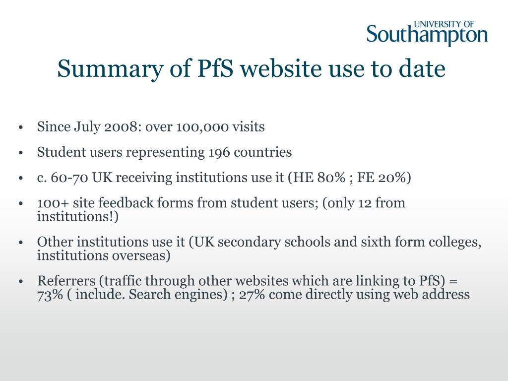 Summary of PfS website use to date