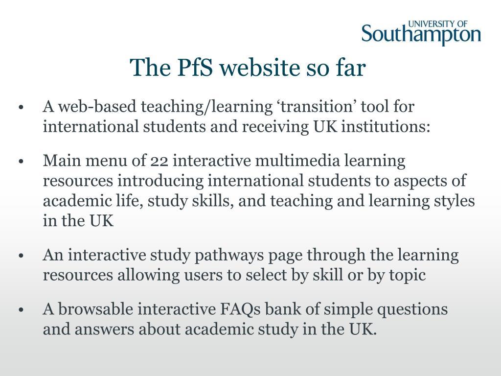 The PfS website so far