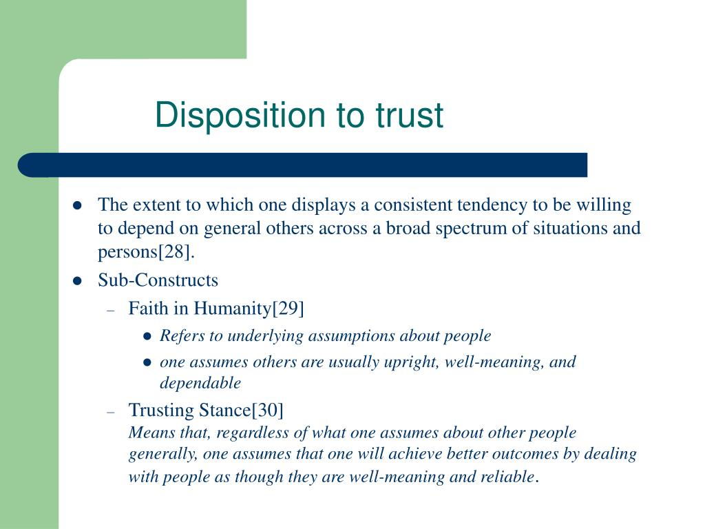 Disposition to trust