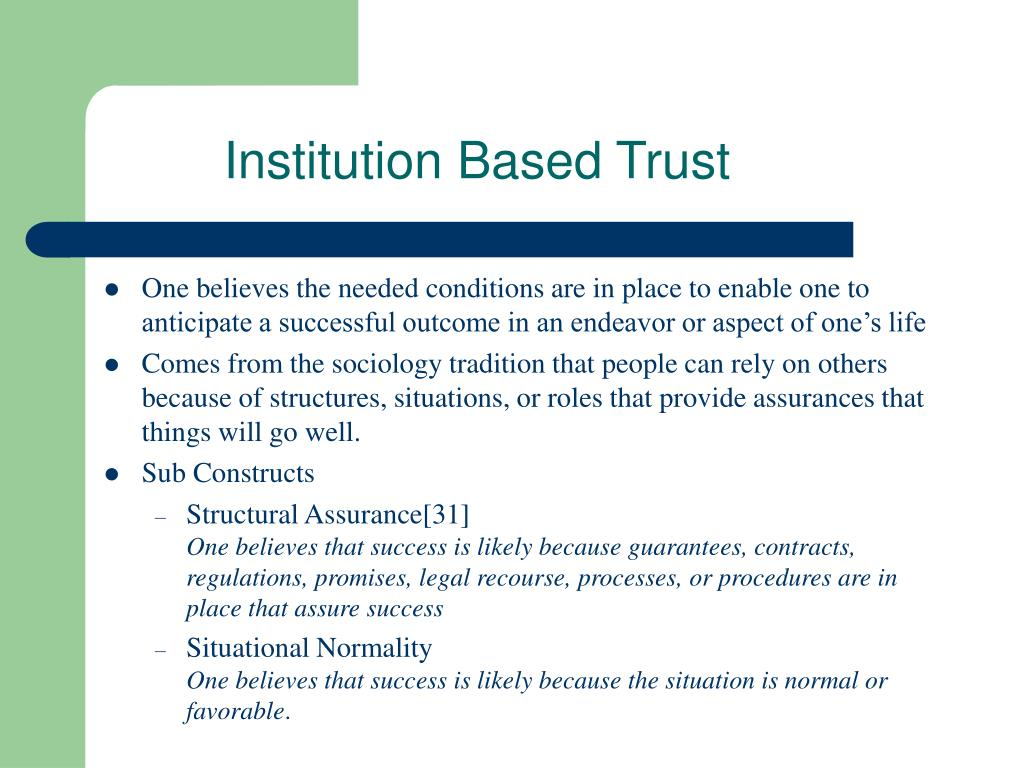 Institution Based Trust