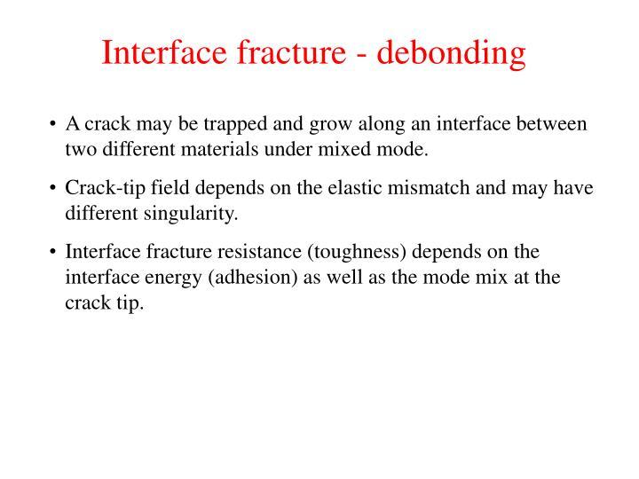 Interface fracture - debonding